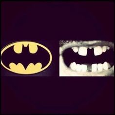 Teeth and the batman emblem