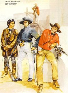 The 3 Colonels of the Alamo. Painting from Osprey books. Mexican Army, Mexican American War, Early American, American History, Military Art, Military History, Military Uniforms, Sam Houston, Native American Models