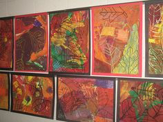 """2nd grade masterpieces - oil pastel, layered w/ tempera and then scraped away, then oil pastel layered over the dry tempera. size 18x24"""""""