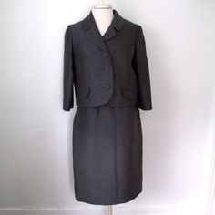1960s Charcoal Grey Jacket and Skirt Suit Set