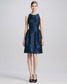 Sleeveless Jewel-Neck Brocade Cocktail Dress