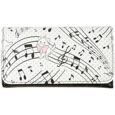 Disney The Aristocats Marie Quilted Flap Wallet ($13) ❤ liked on Polyvore featuring bags, wallets, multi, polka dot wallets, snap closure wallet, flap wallet, quilted bags and white wallet