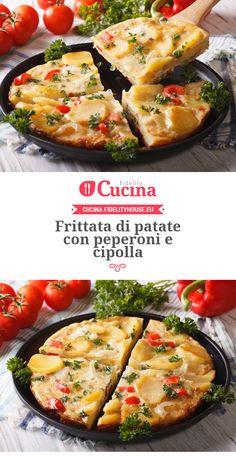 Frittata di patate con peperoni e cipolla Italian Cooking, Italian Recipes, Mama Cooking, Egg Recipes, Quiche, Potato Salad, Mashed Potatoes, Brunch, Food And Drink