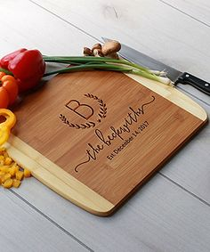 Initial & Name Personalized Bamboo Cutting Board by Etchey #zulily #zulilyfinds
