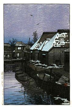 Lingering Snow in Urayasu, by Kawase Hasui, 1921