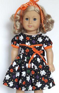 Halloween Print Flair Dress Fits American Girl or Similar Dol… - American Girl Dolls Sewing Doll Clothes, Girl Doll Clothes, Doll Clothes Patterns, Girl Dolls, Dolls Dolls, Barbie Clothes, Doll Patterns, Dress Patterns, American Girl Halloween