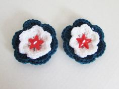 Crochet Red White and Blue Flower Pin with by LoveandPetFurCrochet