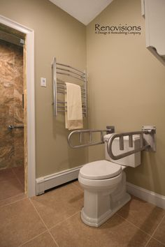 Master Bathroom Remodel By Renovisions. Tile Shower, Safety Grab Bars,  Walk In Shower, Lineal Drain, Heated Towel Bar.