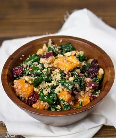 BUTTERNUT SQUASH, BEET & QUINOA SALAD  INGREDIENTS 1 cup butternut squash 1 cup cooked quinoa 4 cups packed chopped kale 2 beets, peeled, cooked, and diced ⅓ cup dried tart cherries ⅓ cup chopped walnuts 1 tablespoon olive oil 2 tablespoons apple cider vinegar salt and pepper to taste