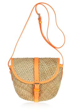 Marc by Marc Preppy Straw Neon PVC trimmed woven shoulder bag// so obsessed with this. would be perfect for the beach!