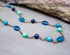 Long Blue Necklace: Ocean Blues, Bead Necklace, Capri Blue, Stone Beaded Necklace, Blue Jewelry