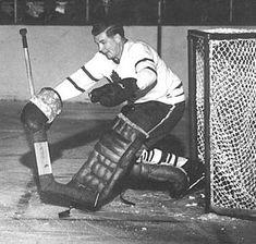 Harry Lumley, the Maple Leafs Blackhawks Hockey, Hockey Goalie, Chicago Blackhawks, Hockey Highlights, Maple Leafs Hockey, Star Wars, Sports Figures, Toronto Maple Leafs, Old School