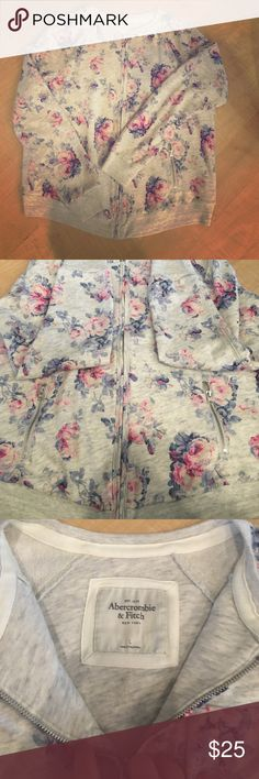 NWOT Abercrombie Floral cotton bomber jacket NWOT Abercrombie & Fitch Floral pattern bomber jacket. This is a cotton bomber jacket that is a light grey with pink and blue Floral patterns on it. Never got a chance to wear it and now it's too big. My loss is your gain! Perfect for spring! Size Large Abercrombie & Fitch Jackets & Coats