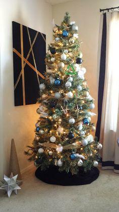 Navy Christmas Ornaments.Navy And Gold Christmas Tree Christmas Tree Themes