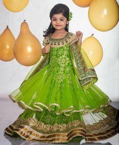 Light Green Neìndian t Long Frock - Indian Dresses Baby Girl Party Dresses, Little Girl Dresses, Shadi Dresses, Indian Dresses, Princes Dress, Kids Lehenga Choli, Kids Gown, Children Dress, Kids Ethnic Wear