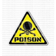 Danger Poison Skull Inside Warning Sign Sticker
