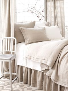 This neutral duvet will work with the vibrant colored/patterned Karma Living throws and pillows that I have... a little expensive but I like the look... $370