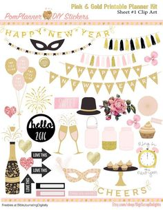 Pink Gold Printable Planner Kit  5 PDFs, EC or Happy Planner, OVER 300 Stickers…