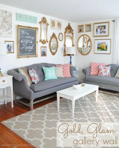 Gold Gallery Glam Wall. Gallery Wall Ideas and Inspiration for PIcture Frame Displays. Family picture frame ideas and ornament for displaying your home portraits.