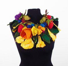 Felted Collar felt Necklace Flower art jewerly nunofelt by filcant, $99.00