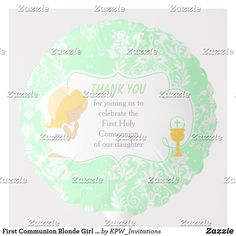 Shop First Communion Blonde Girl Green Damask Balloon created by KPW_Invitations. Helium Gas, First Communion Invitations, Custom Balloons, Invitation Design, Damask, Boy Or Girl, Green, Personalized Balloons, Personalised Balloons