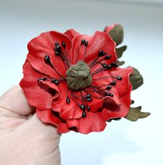 brooch leather red poppy flower brooch Art от jewelryleather