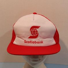 Scotia Bank Vintage Baseball Truckers Dad Hat Cap Snap Back