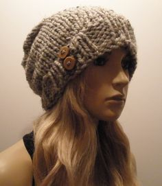 Oatmeal Wheat Gray Tweed Specs Wool Blend Yarns Slouchy Oversized Beanie Hat With Wood Buttons. $24.00, via Etsy.