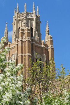 Springtime at Marquette University's Marquette Hall.