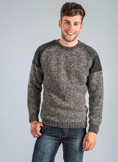 Fisherman Raglan Crew Neck: ThisFisherman Irishsweateris knitin the village of Kilcar, Donegal. Thissweaterreflects all the beauty of the Donegallandscape with fleck detailing and rich winter green, army green, navy and clay coloured yarns. #sweater #raglansweater #raglan #crewneck #jumper #grey #gray #menswear #menstyle #mensfashion #mens #menssweater #fishermansweater