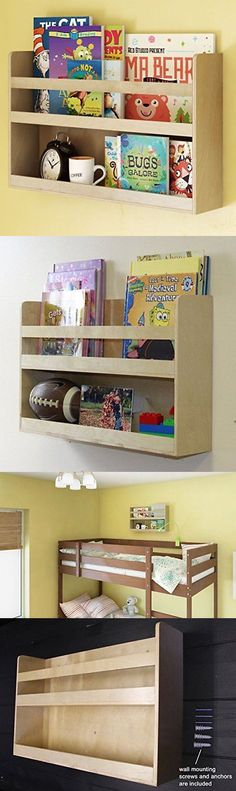 Bookcases 115749 Children S Kids Room Wall Shelf Wood Material Great For Bunk Bed Nursery