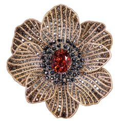 Alex Soldier Mandarin Garnet Diamond Gold Coronaria brooch, cuff, necklace, ring | From a unique collection of vintage brooches at https://www.1stdibs.com/jewelry/brooches/brooches/