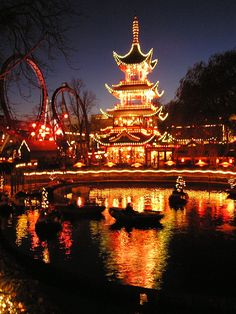Tivoli gardens, Amusement park, Copenhagen, Denmark