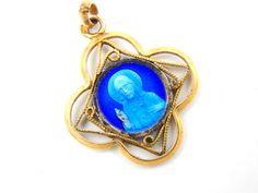 Vintage Sacred Heart of Jesus Blue Enamel Catholic Medal - Religious Charm - Bracelet Supplies - P73 by LuxMeaChristus on Etsy