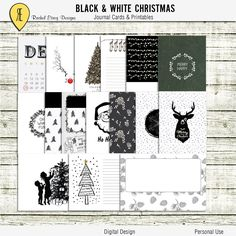 Black & White Christmas - Journal Cards - Instant Download - Printable journaling cards for Project Life and digital scrapbooking by Racheletrogdesigns on Etsy