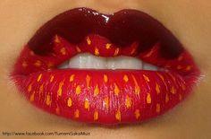 Chocolate Dipped Strawberry Lip Art, Lipstick Art, Lipsticks, Lipstick Style, Makeup Art, Lip Makeup, Makeup Ideas, Chocolate Dipped Strawberries, Chocolate Covered