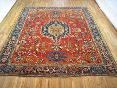 "Persian: Geometric 12' 1"" x 10' 6"" Antique Heriz at Persian Gallery New York - Antique Decorative Carpets & Period Tapestries"