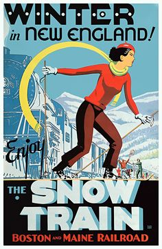 Winter New England Snow Train Vintage Ski Poster Art giclee reproduction print on fine paper that will not fade. Available in different sizes, unframed or framed in black matte wood frame. Custom sizes available. Made in USA by Museum Outlets