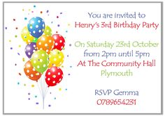 Personalised Invite. Childrens Birthday Party Invitations Balloons Boys x10