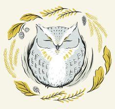 Cute blue owl by Alisa Coburn
