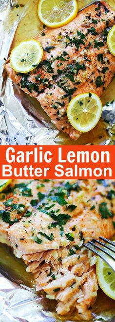 Garlic Lemon Butter Salmon – the easiest foil-wrapped salmon recipe ever with crazy delicious salmon in garlic lemon butter sauce. So good | rasamalaysia.com