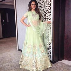 We love this light green lehnga by Ridhi Mehra from Lakme Fashion Week SS 2015. This would be beautiful for one of your bridesmaids!   Shaadi Glam @shaadiglam Instagram photos