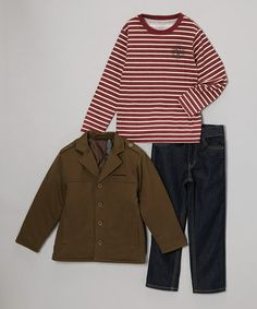 Take a look at this Olive & Red Stripe Jacket Set - Infant, Toddler & Boys by Calvin Klein Jeans on #zulily today!