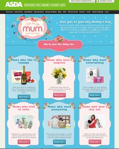 Asda online offers a wealth of mothers day suggestions to visitors  #mothersday #HolidayMarketing #SeasonalMarketing #Occasionbasedmarketing