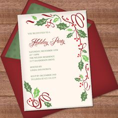 Christmas Invitation Template with Holly Border Design 1