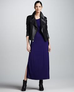 Asymmetric+Zip-Front+Leather+Jacket+&+Sleeveless+Jersey+Maxi+Dress+by+DKNY+at+Neiman+Marcus.