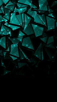 Fondo de pantalla // Verde, negro, figuras, triangulo, abstracto