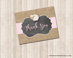 Baby Shower Lamb Thank You Note Card for a Girl in neutral, burlap and pink by PureDesignGraphics on Etsy Burlap Baby Showers, Thank You Note Cards, Fall Pumpkins, Custom Invitations, I Am Happy, Color Show, Lamb, Boy Or Girl, Card Stock