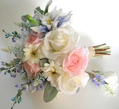 Garden Inspired Bridal Bouquet in Cream, Pale Pink Blush and Periwinkle Blue Real Touch Flowers by BlueLilyBridal on Etsy https://www.etsy.com/listing/244850698/garden-inspired-bridal-bouquet-in-cream Periwinkle Wedding, Periwinkle Blue, Pale Pink, Blue Wedding, Floral Wedding, Wedding Bells, Prom Flowers, Bridal Flowers, Flower Bouquet Wedding