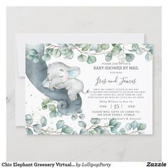 Chic Elephant Greenery Virtual Baby Shower by Mail Invitation Gender Neutral Baby Shower, Baby Boy Shower, Baby Showers, Baby Shower Virtual, Baby Shower Elegante, Baby Shower Thank You Cards, Baby Cards, Baby Shower Invitaciones, Baby Shower Invitations For Boys